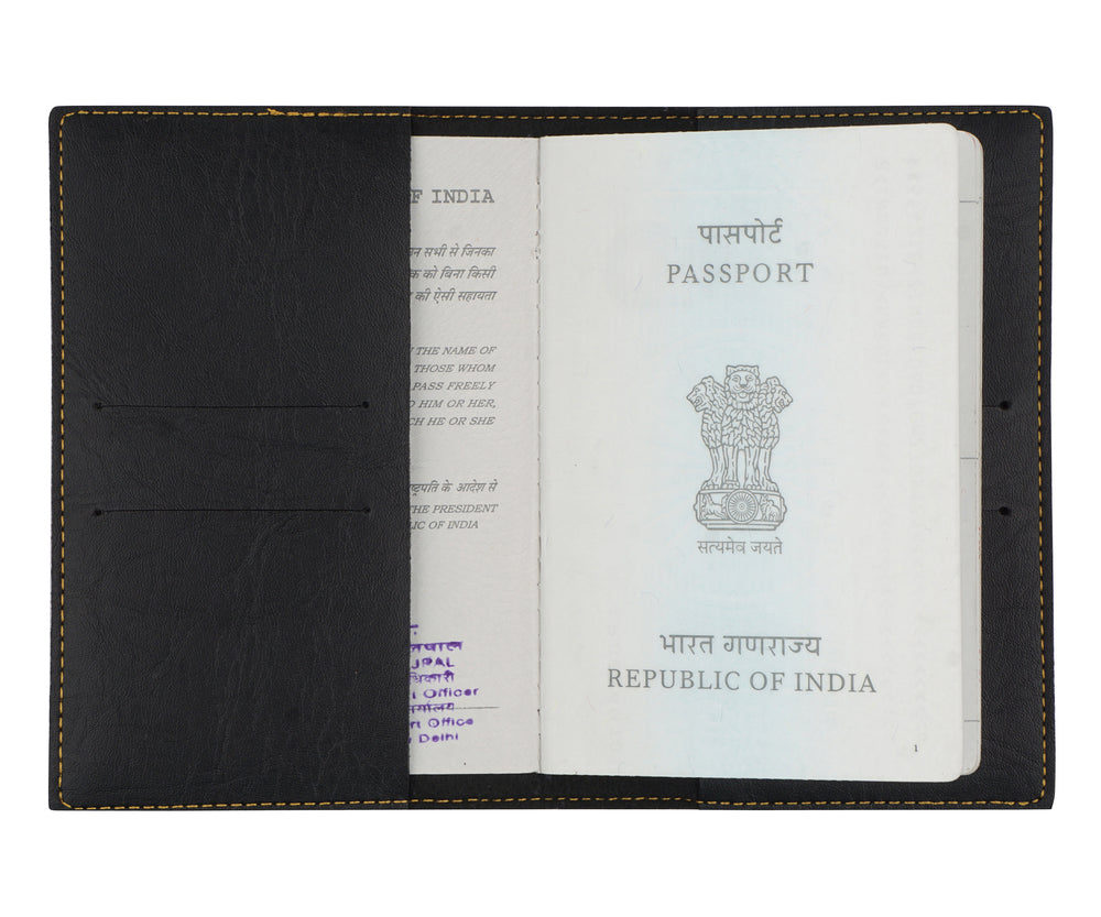 Mrs - Black Leather Finish Passport Cover - The Junket