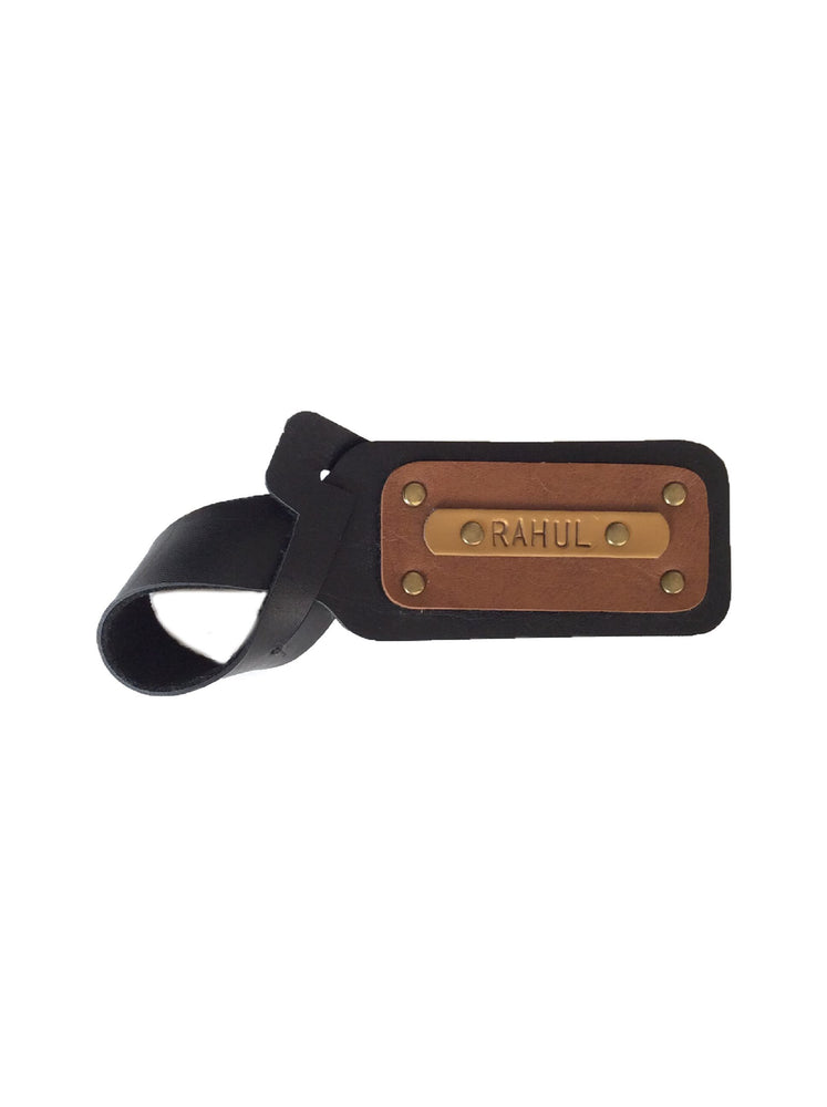Classic Black with Tan Luggage Tag - The Junket