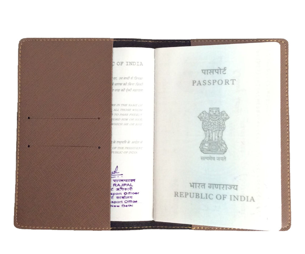 Chocolate Brown Textured Passport Cover - The Junket