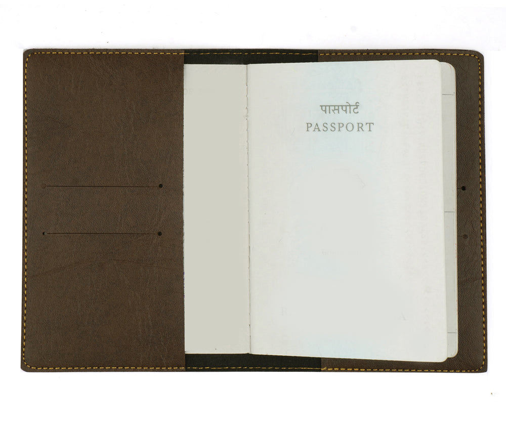 Dark Brown Leather Finish Passport Cover - The Junket