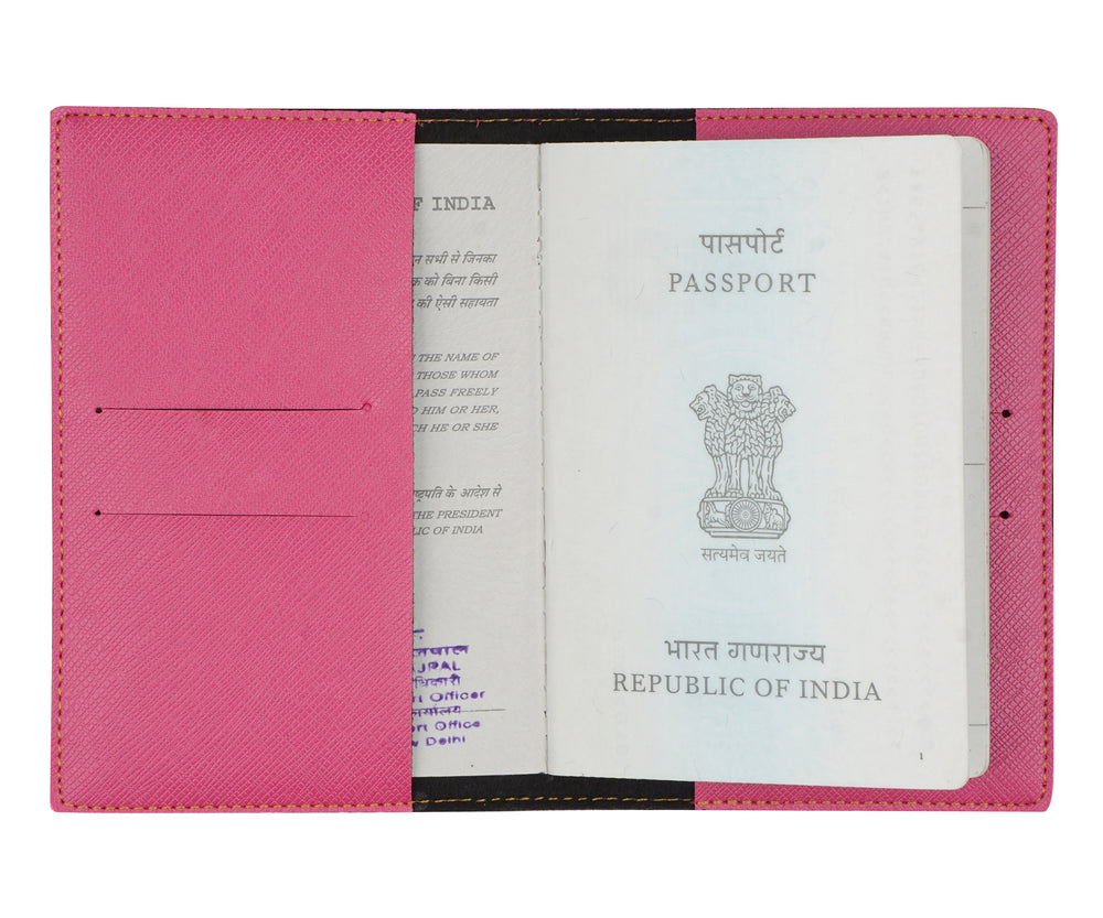 Dark Pink Textured Passport Cover - The Junket