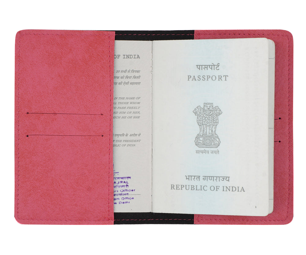 Pink Leather Finish Passport Cover - The Junket