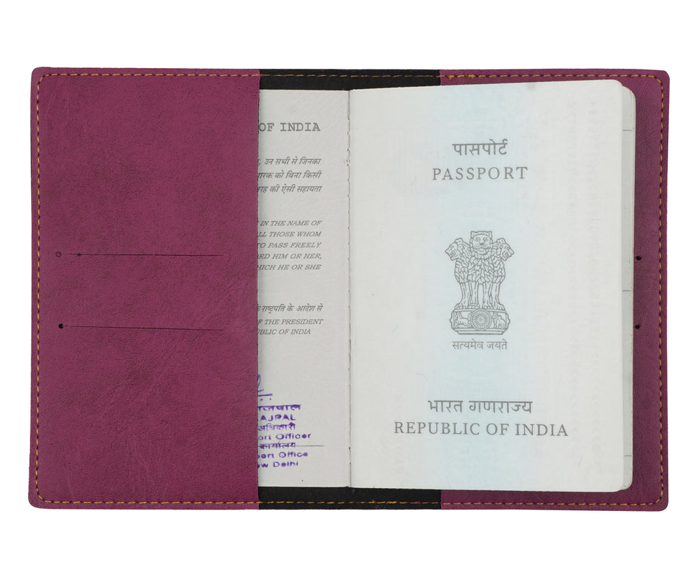 Purple (Magenta) Leather Finish Passport Cover - The Junket