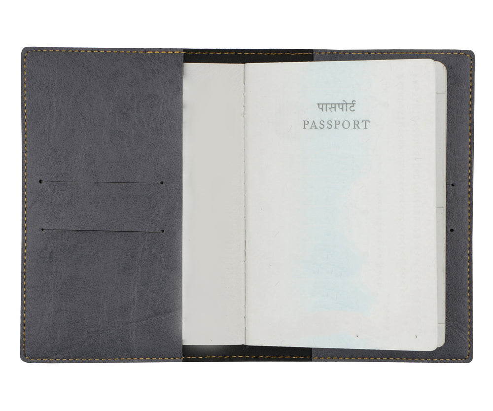 Grey Leather Finish Passport Cover - The Junket