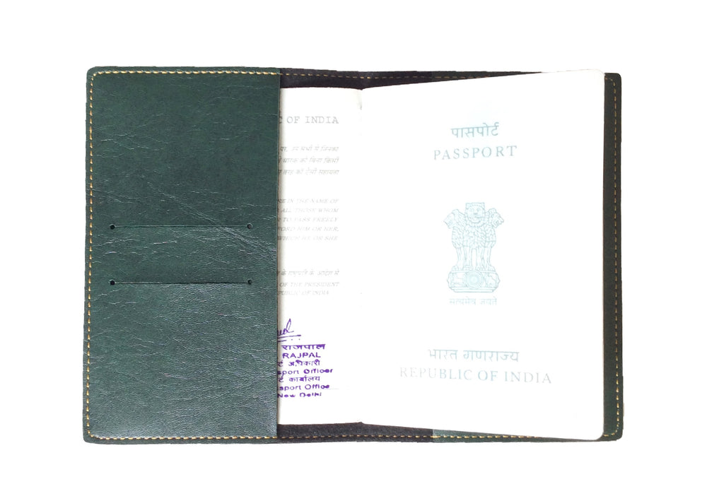 Mr - Forest Green Leather Finish Passport Cover - The Junket