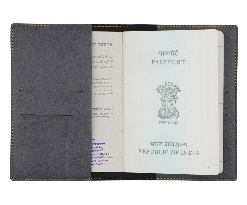 Mrs - Grey Leather Finish Passport Cover - The Junket