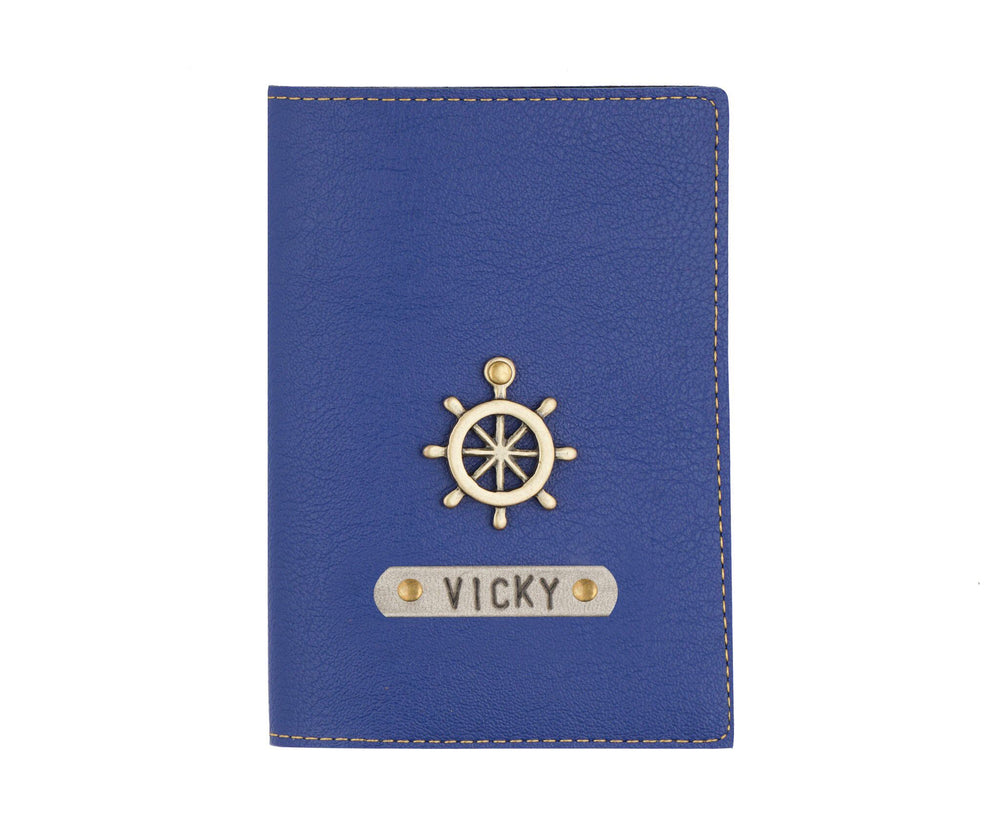 Navy Blue Leather Finish Passport Cover - The Junket