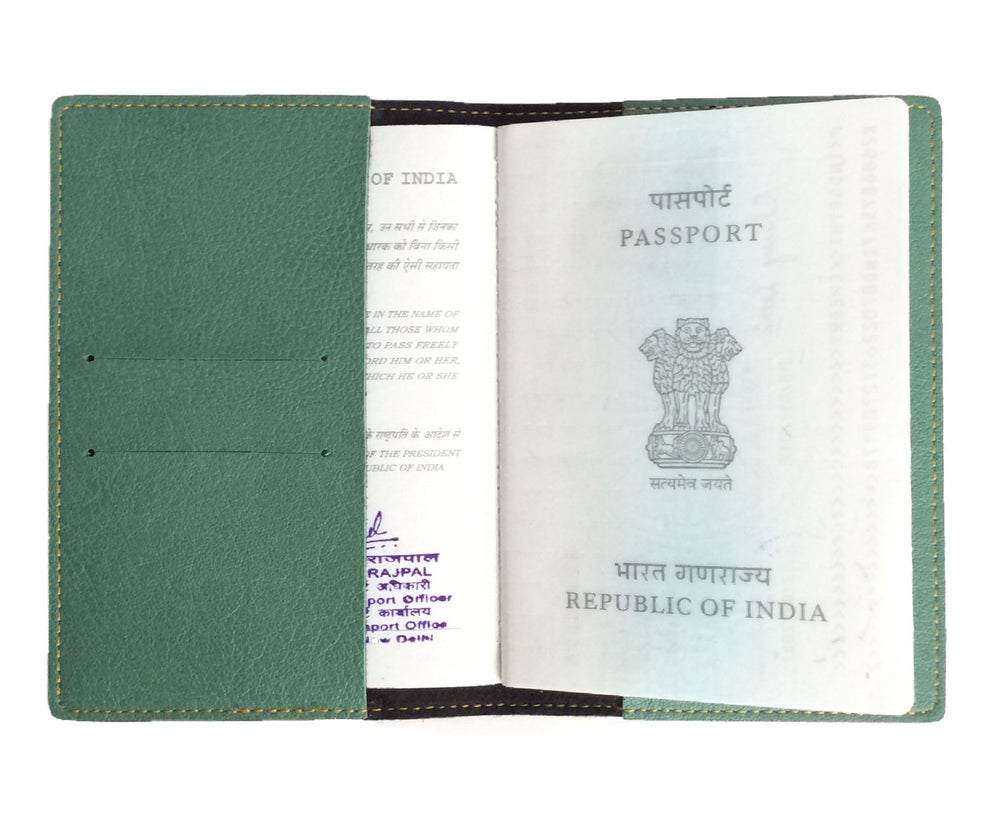 Green Leather Finish Passport Cover - The Junket