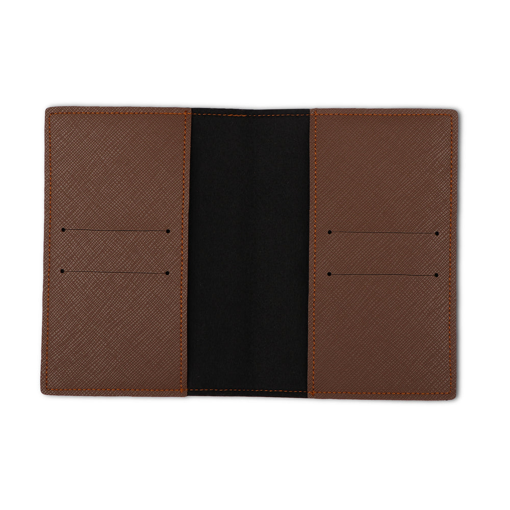 Dark Brown Textured Passport Cover - The Junket
