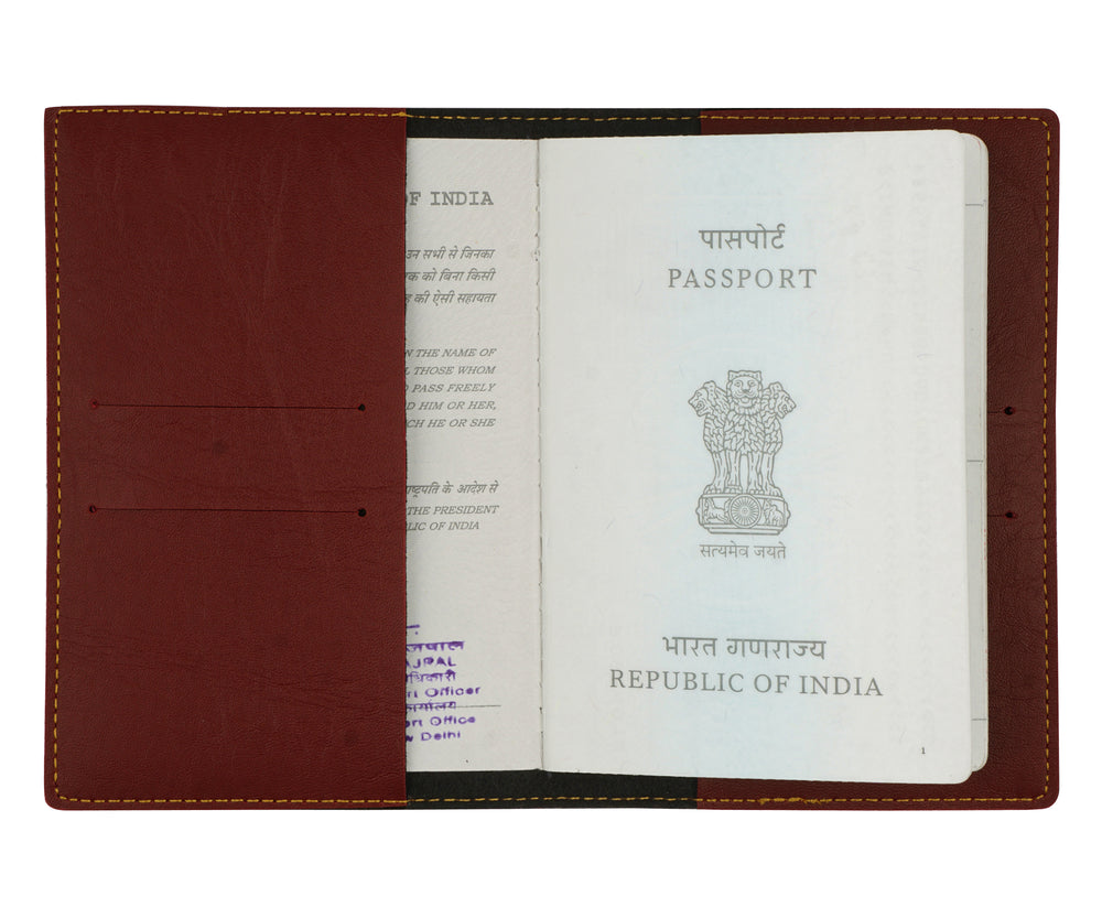 Maroon Leather Finish Passport Cover - The Junket