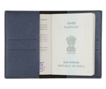 Metallic Blue Textured Passport Cover - The Junket