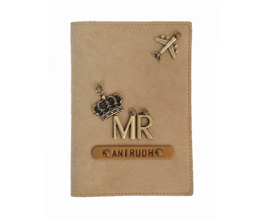 Mr - Cream Leather Finish Passport Cover - The Junket