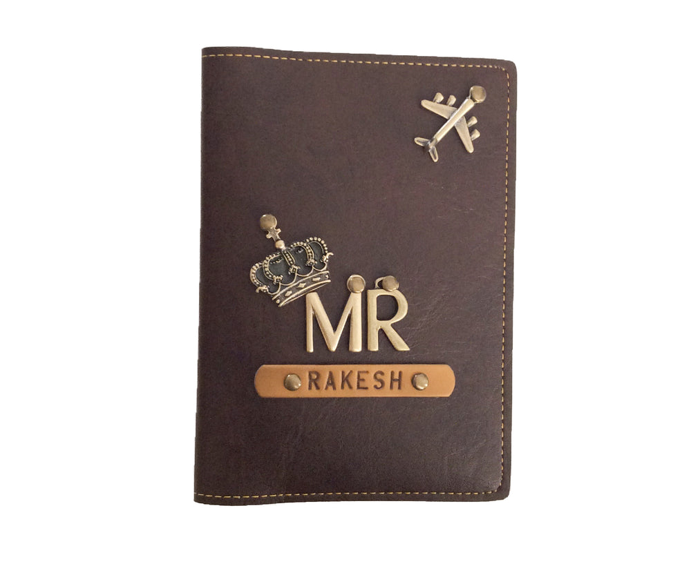 Mr - Dark Brown Leather Finish Passport Cover - The Junket