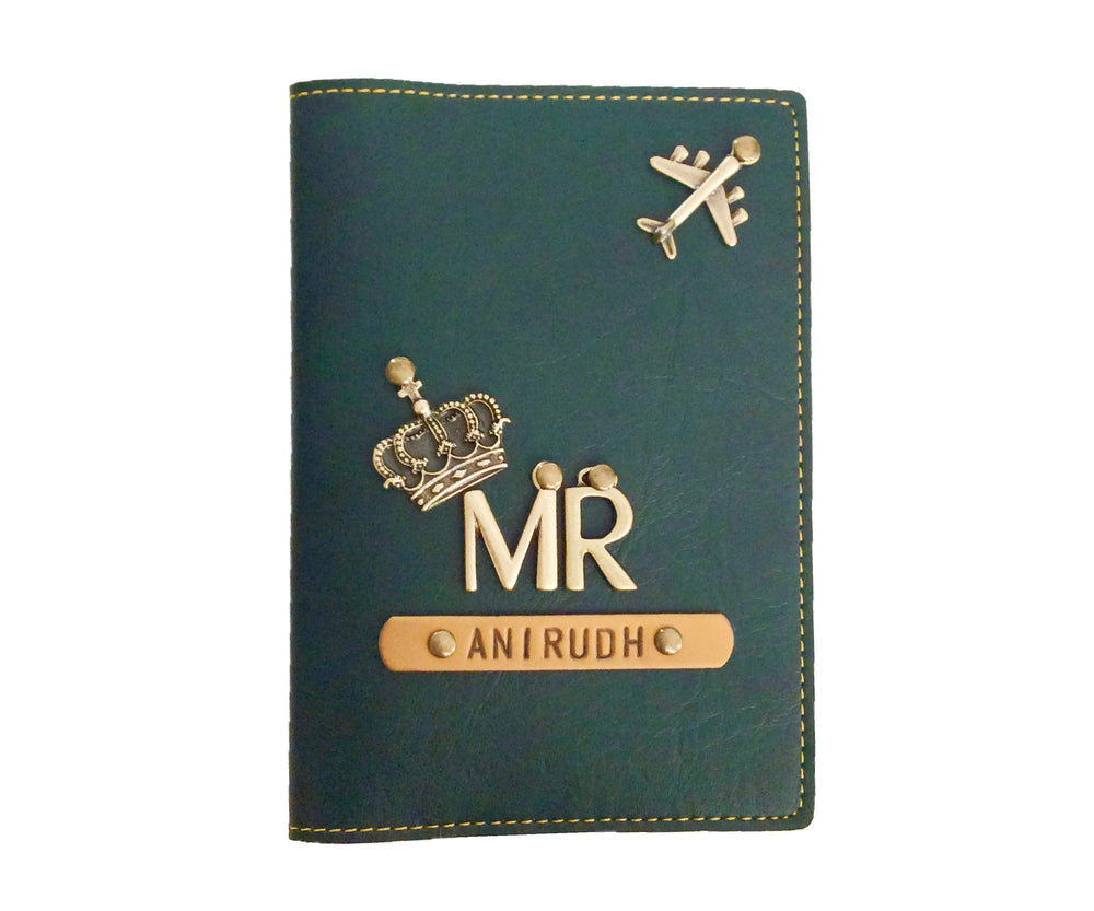 Mr - Forest Green Leather Finish Passport Cover