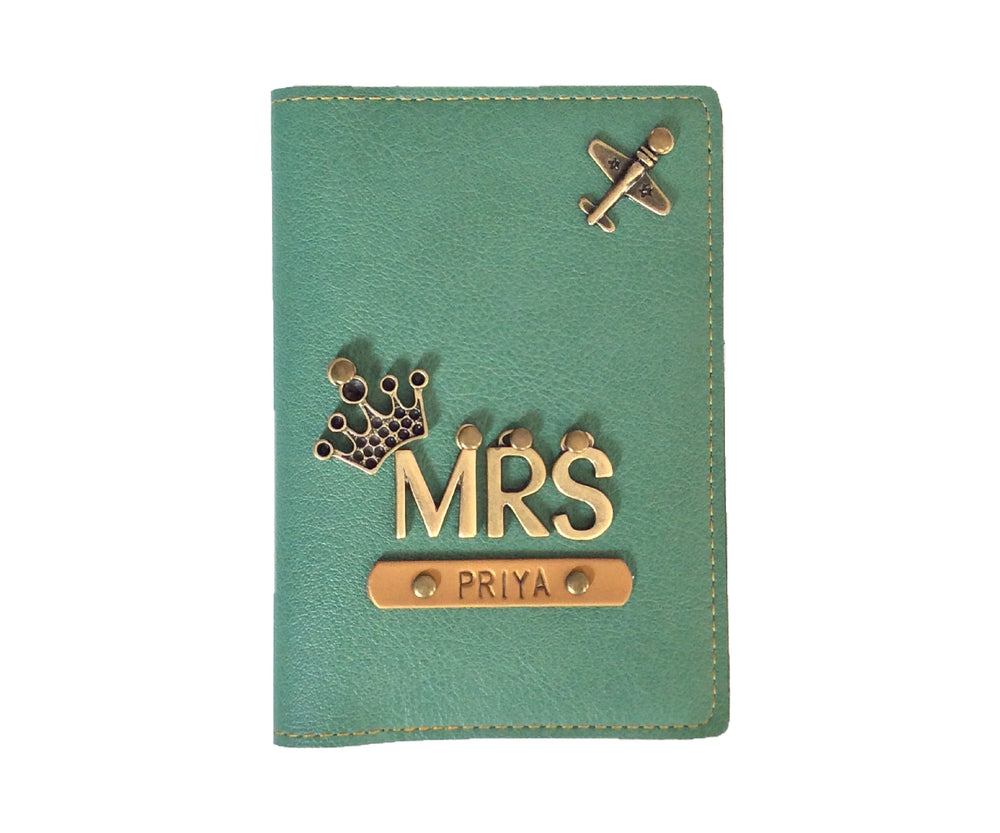 Mrs - Green Leather Finish Passport Cover - The Junket