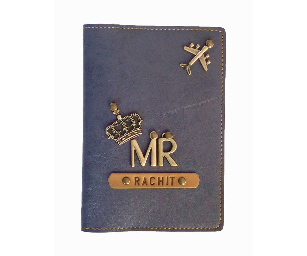 Mr - Grey Leather Finish Passport Cover - The Junket