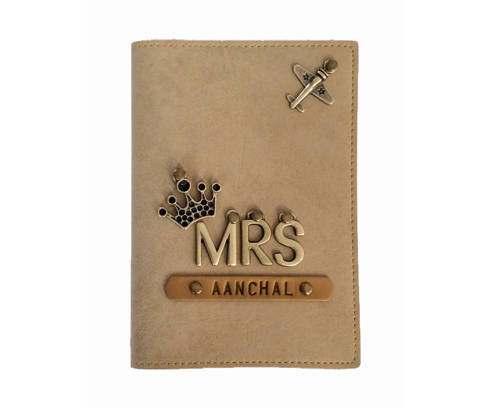 Mrs - Cream Leather Finish Passport Cover - The Junket