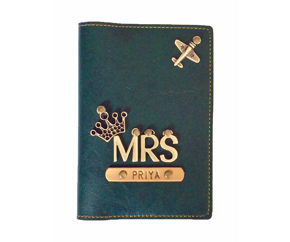 Mrs - Forest Green Leather Finish Passport Cover - The Junket