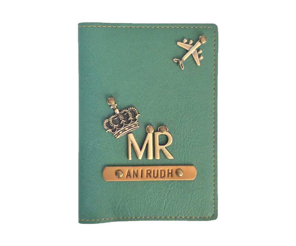 Mr - Green Leather Finish Passport Cover - The Junket