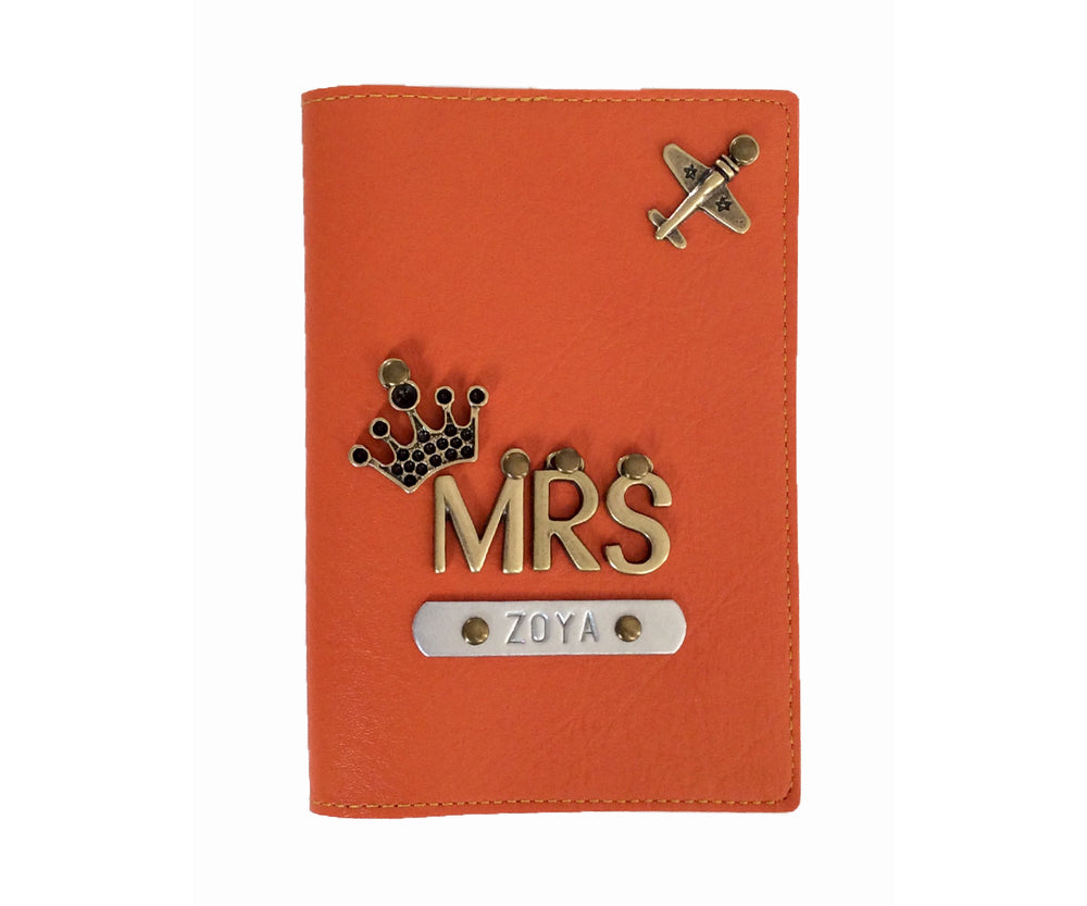 Mrs - Orange Leather Finish Passport Cover - The Junket