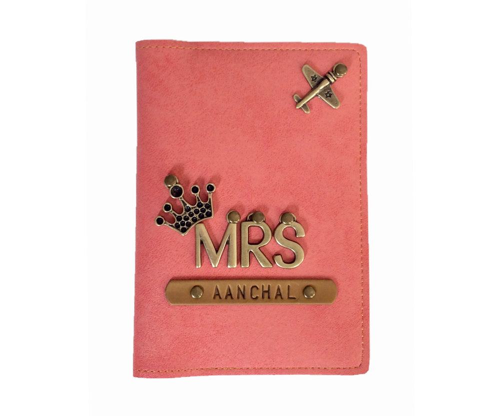 Mrs - Peach Leather Finish Passport Cover - The Junket