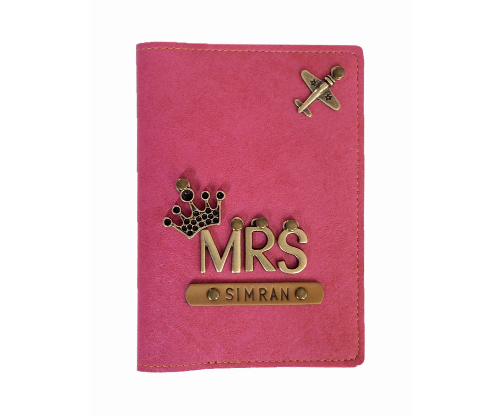 Mrs - Personalized Pink Leather Finish Passport Cover
