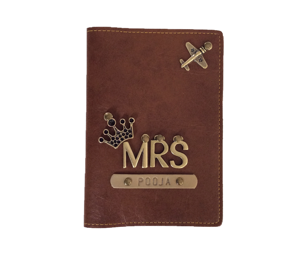 Mrs - Tan Leather Finish Passport Cover - The Junket