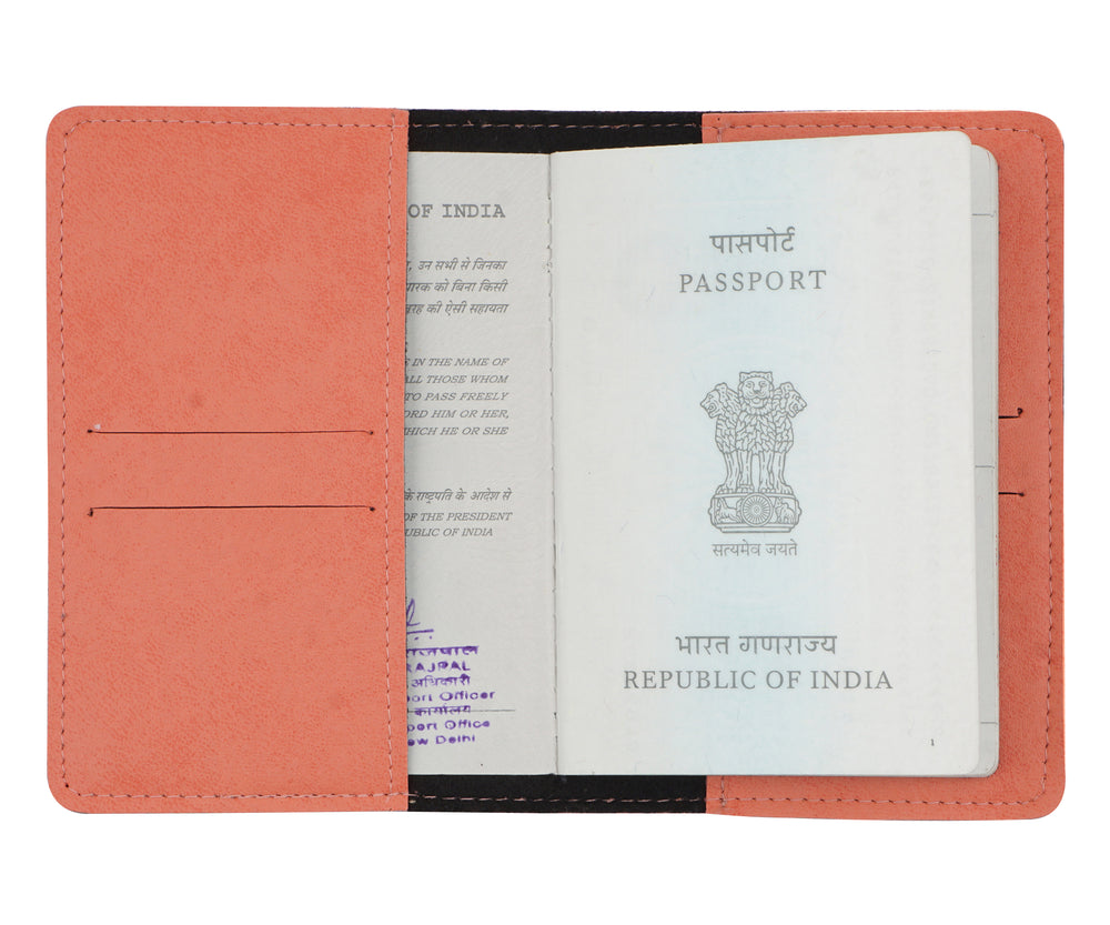 Personalized Peach Leather Finish Passport Cover