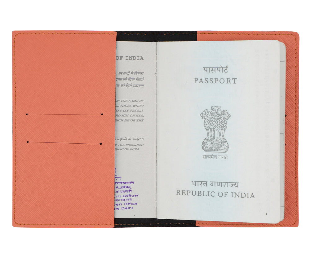 Peach Textured Passport Cover - The Junket