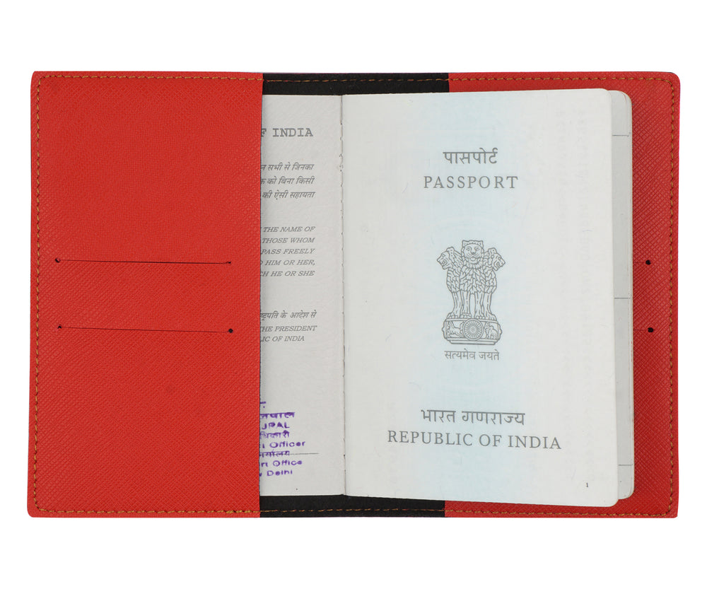 Red Textured Passport Cover - The Junket