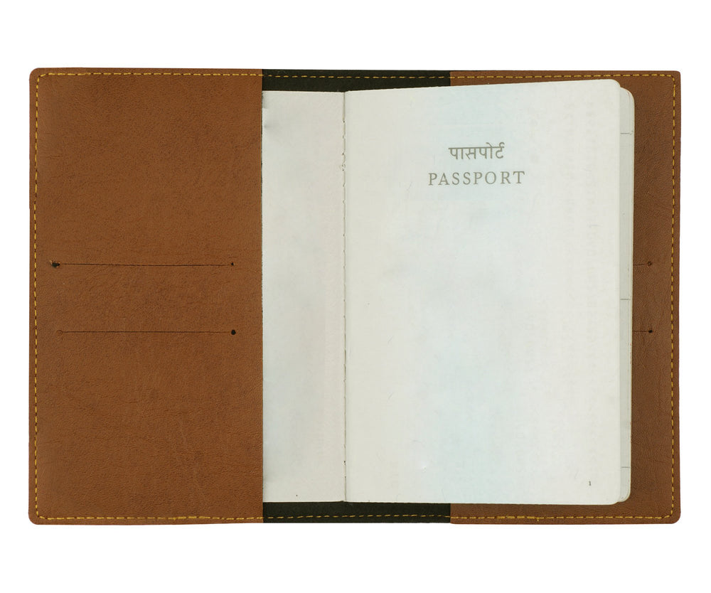 Tan Leather Finish Passport Cover - The Junket