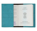 Turquoise Leather Finish Passport Cover - The Junket