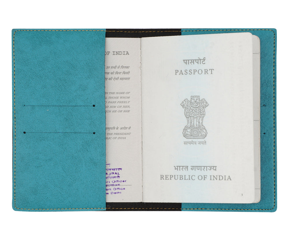 Mrs - Turquoise Leather Finish Passport Cover - The Junket