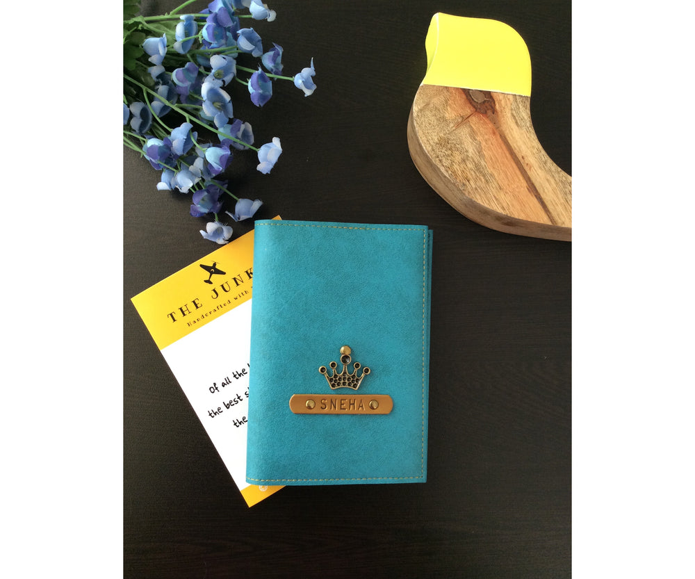 Turquoise Leather Finish Passport Cover