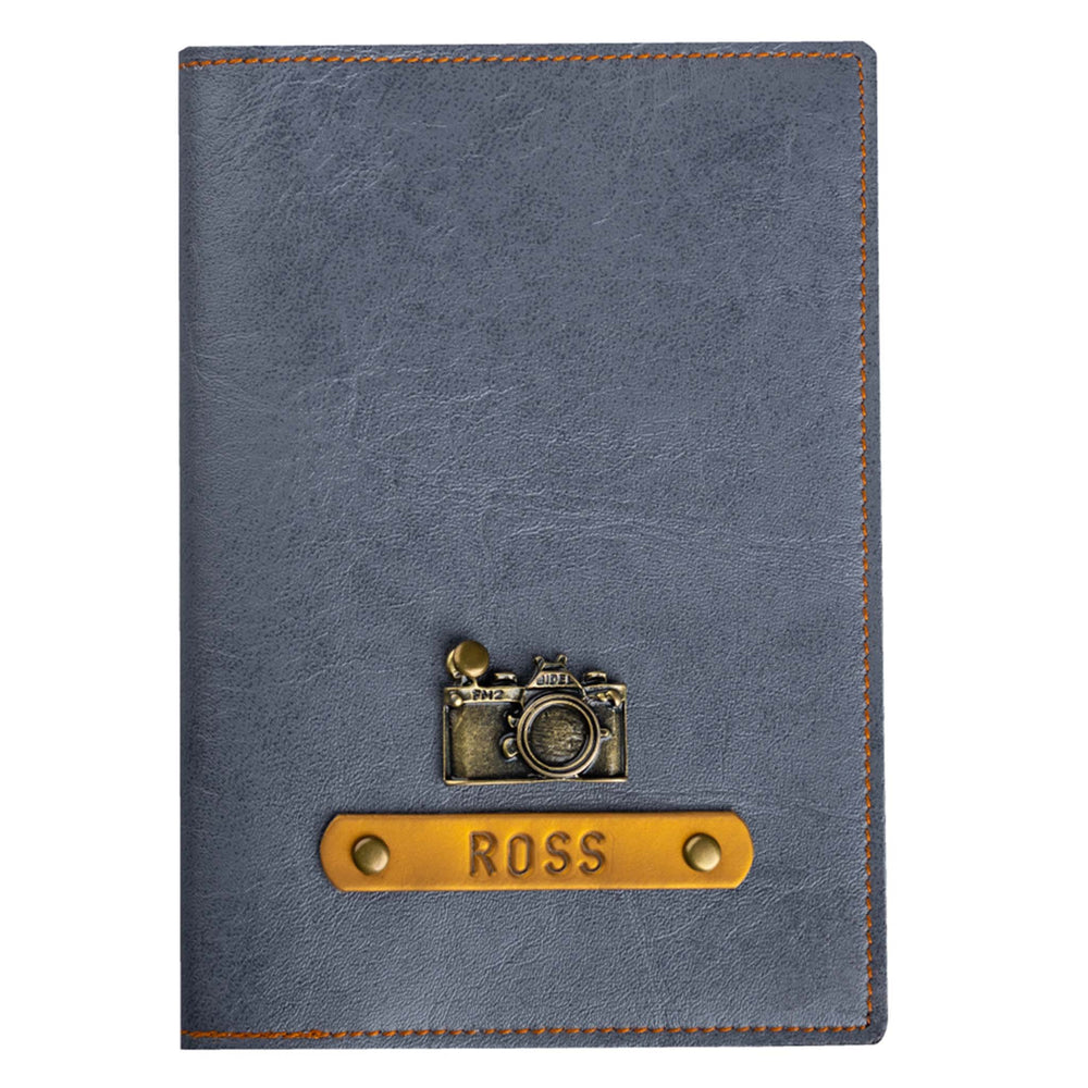 Grey Leather Finish Passport Cover