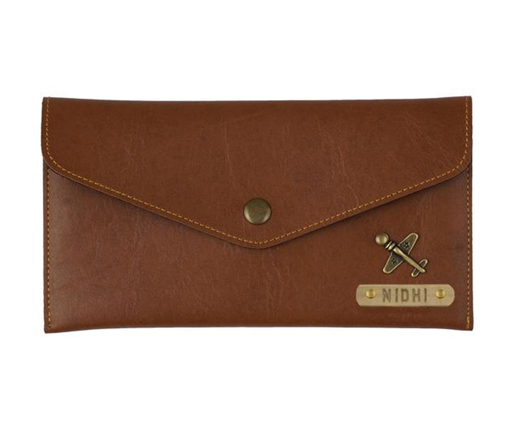 Tan  Button Purse