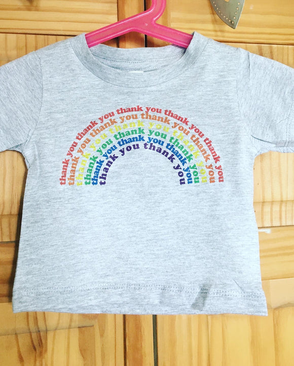 Kids and Toddler Thank You Rainbow T Shirt