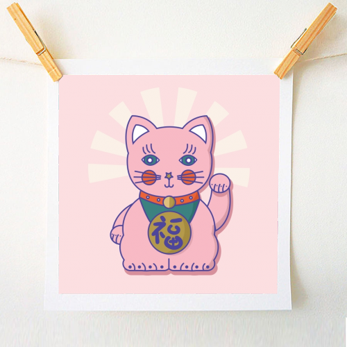 Art Wow Good Luck Cat Print Small