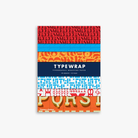 Typewrap Typographic Gift Wrapping Paper 10 Sheets + 12 Tags