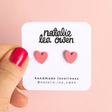 Natalie Lea Owen Pink Blush Heart Earrings