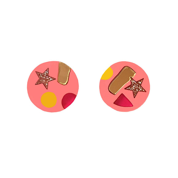 Natalie Lea Owen Confetti Earrings in Pink