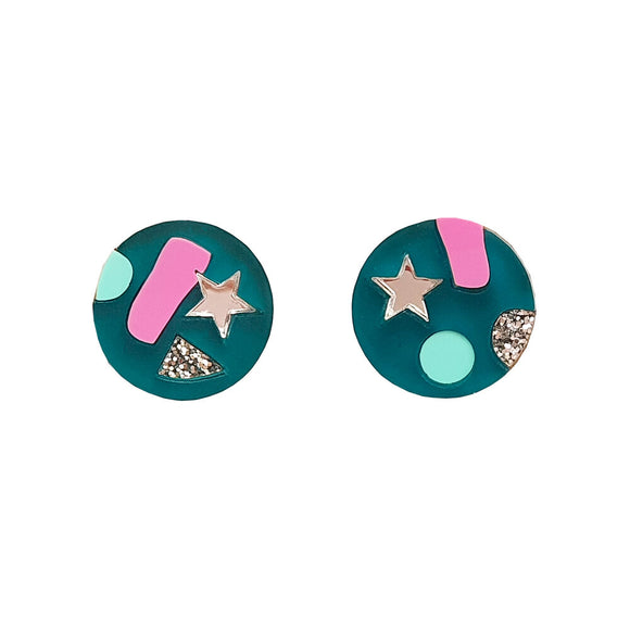 Natalie Lea Owen Confetti Earrings in Teal