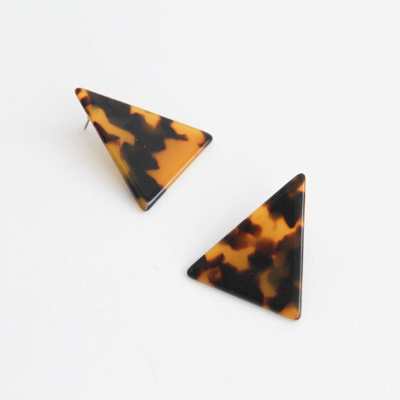 Tortoiseshell Acrylic Triangle Earrings