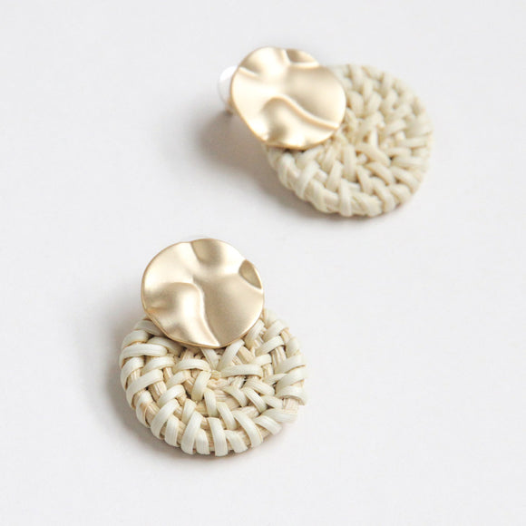 Gold/Cream Rattan Circles Earrings