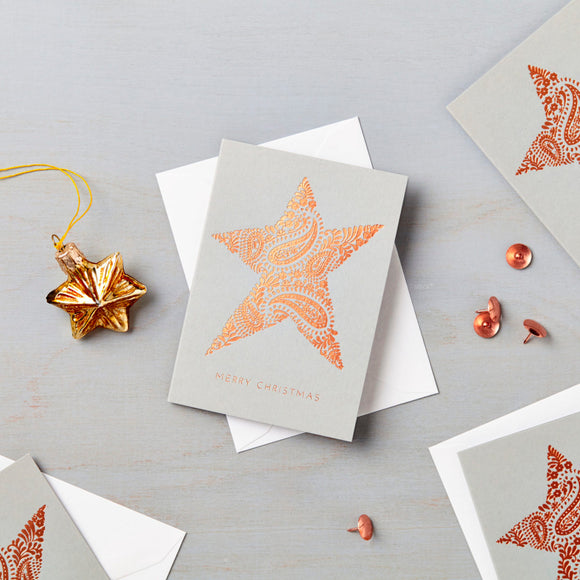 Pack of 6 Luxury Copper Foil Mini Star Charity Christmas Cards