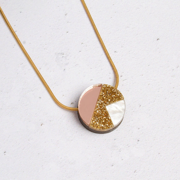 Natalie Lea Owen Matilda Necklace in Gold Glitter