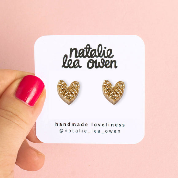 Natalie Lea Owen Gold Glitter Heart Earrings