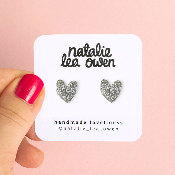 Natalie Lea Owen Silver Glitter Heart Earrings