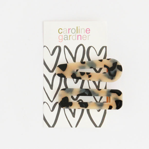 Pale Tortoiseshell Hair Clips Set of 2