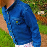 Organic Cotton Personalised Denim Jacket with Glitter Design.